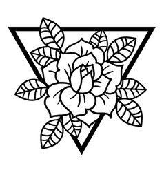 rose tattoo with sacred geometry frame vector image