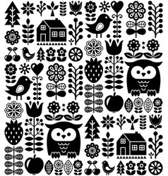 Scandinavian seamless folk pattern - black finnish vector