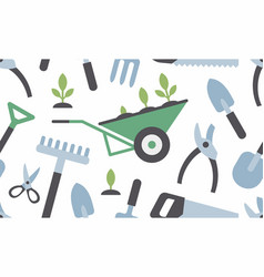 Seamless pattern with gardening instruments vector