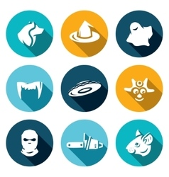 Set of Fear Icons Werewolf Witch Ghost vector