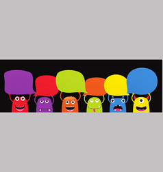 Set of funny cartoon monsters with dialogue vector