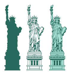 Set of the statue of liberty in new york city vector
