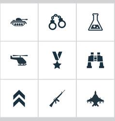 set simple battle icons vector image