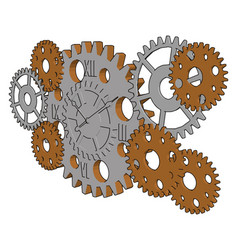 silver gears on white background vector image