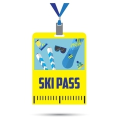 Ski pass template with barcodeblue ribbon vector