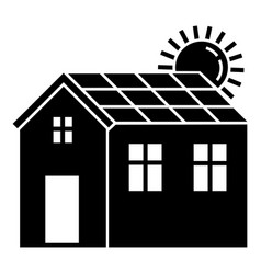 solar panel house icon simple style vector image
