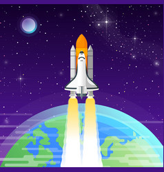 space shuttle goes into outer space vector image