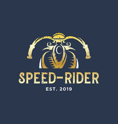 speed rider motorcycle club vintage logo design vector image