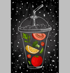 Summer fruit smoothie drink menu infographic vector