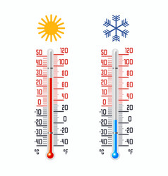thermometer with cold and hot temperatures vector image