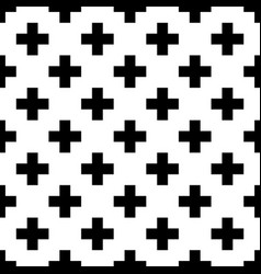 tile cross plus black and white pattern vector image