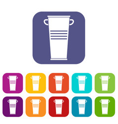 Trash can with handles icons set flat vector
