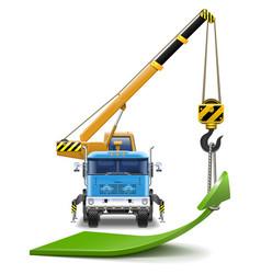 Truck crane with green arrow vector