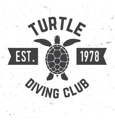 Turtle diving club vector