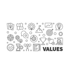 values concept horizontal outline banner vector image