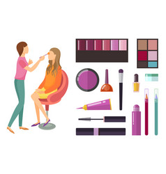 Visage and makeup making beauty cosmetics vector