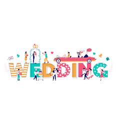 Wedding typography banner template flat vector