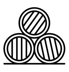 Whisky barrel stack icon outline style vector