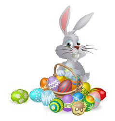 white easter bunny and chocolate eggs vector image