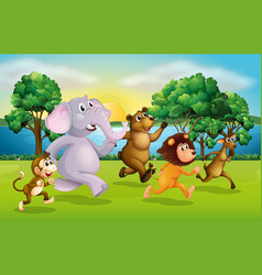 wild animals racing in the park vector image