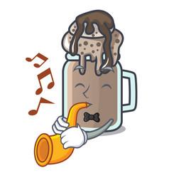 With trumpet milkshake mascot cartoon style vector