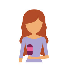 Woman with brown hair an ice cream ve vector