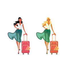 women in summer clothes with travel bag vector image