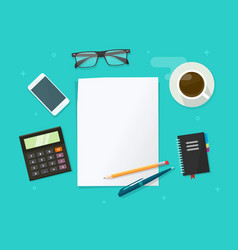 working desk table flat lay top view with vector image