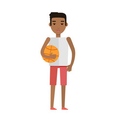 Young african black man with ball isolated vector