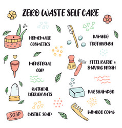 Zero waste lifestyle tips for self care vector