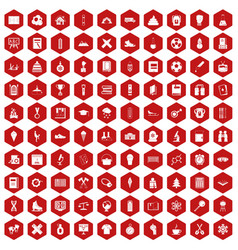 100 school years icons hexagon red vector image vector image