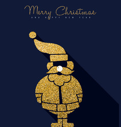 christmas and new year gold glitter santa claus vector image