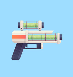 flat cartoon sci-fi gun blaster with acid liquid vector image