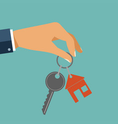 For rent house concept real estate agent holds vector