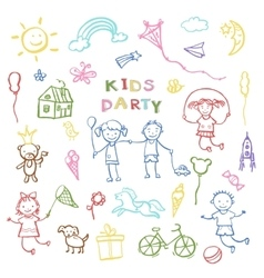 Kids party doodles for the design of childrens vector image