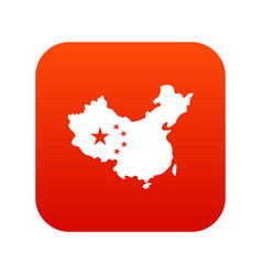 map of china icon digital red vector image