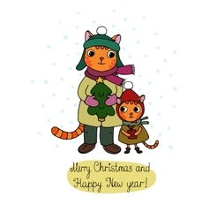 Two cute cartoon cat tree and a gift vector
