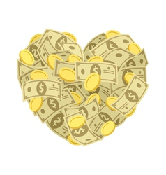 Money heart vector image vector image