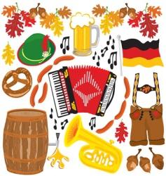 Oktoberfest party clipart elements vector image