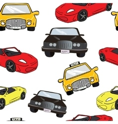 seamless background Collorful cartoon cars vector image