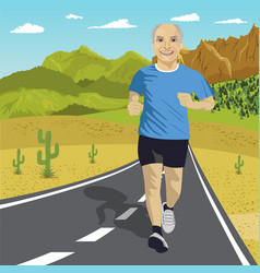 senior man running on road in mountains vector image