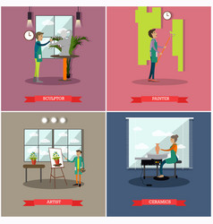 set of arts and crafts professionals flat vector image