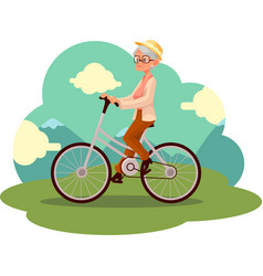 stylish elder woman old lady riding a bicycle vector image vector image