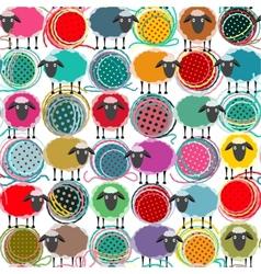 Colorful Seamless Sheep and Yarn Balls Pattern vector image vector image
