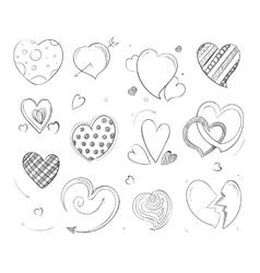 Cute doodle hearts love pencil drawn vector image vector image