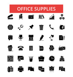 office supplies thin line icons vector image