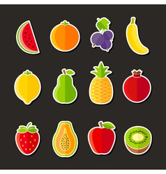 Organic fresh fruits and berries icons flat design vector image vector image