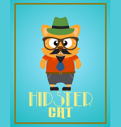 Funny hipster cat vector