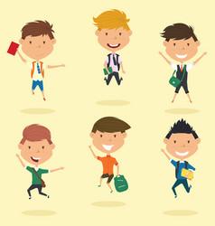 happy school boys jumping outdoor vector image
