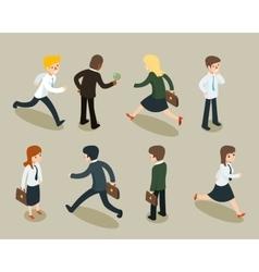 Isometric cartoon businessmen and business women vector image